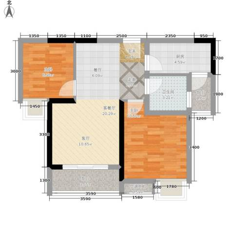 祺山・品阁2室1厅1卫1厨55.00㎡户型图