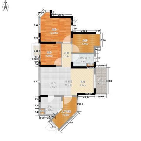 碧桂园十里金滩3室1厅1卫1厨82.00㎡户型图
