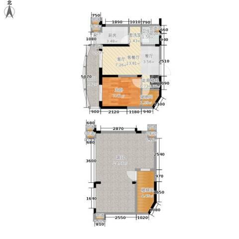 碧桂园十里金滩1室1厅1卫1厨73.00㎡户型图