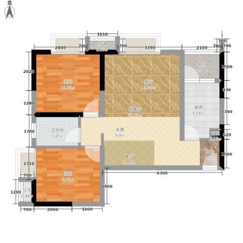 北城旺角2室1厅1卫1厨87.00㎡户型图