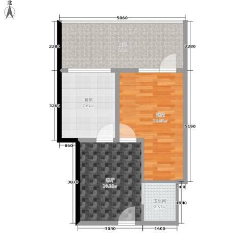 建安像素汇1厅1卫1厨51.00㎡户型图