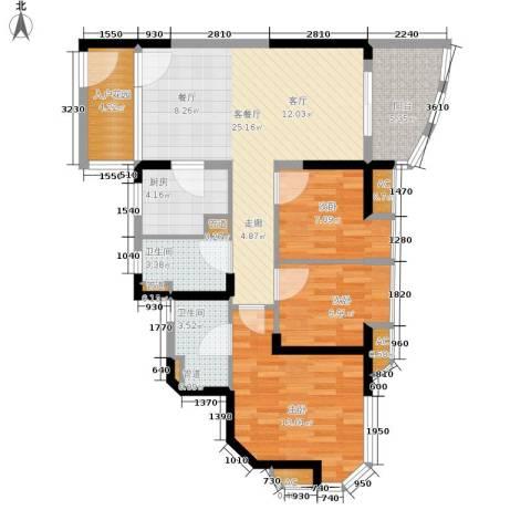 碧桂园十里金滩3室1厅2卫1厨88.00㎡户型图