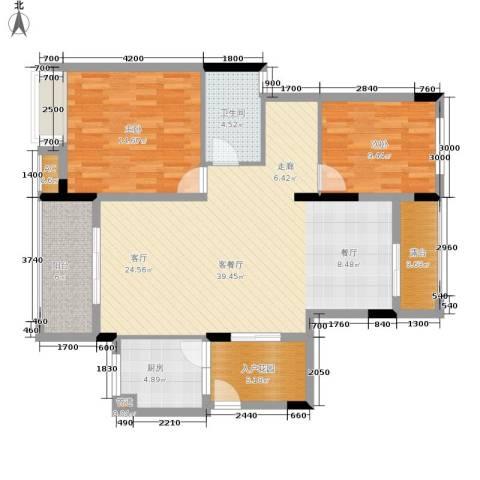 金科开州财富中心2室1厅1卫1厨138.00㎡户型图