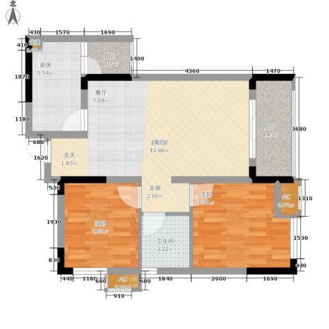 北城国际中心2室0厅1卫1厨67.00㎡户型图