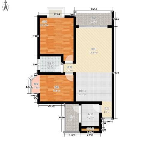 大川花园2室0厅1卫1厨88.00㎡户型图