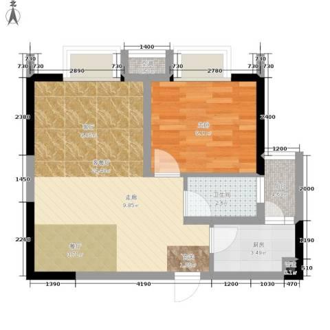 北城旺角1室1厅1卫1厨61.00㎡户型图