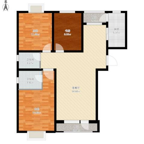 伯爵源筑3室1厅2卫1厨126.00㎡户型图