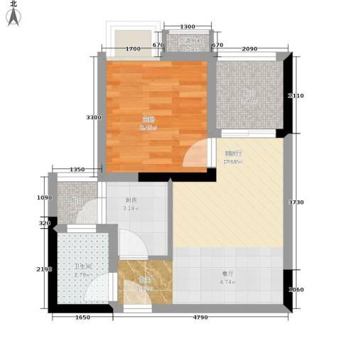 祺山・品阁1室1厅1卫1厨37.00㎡户型图