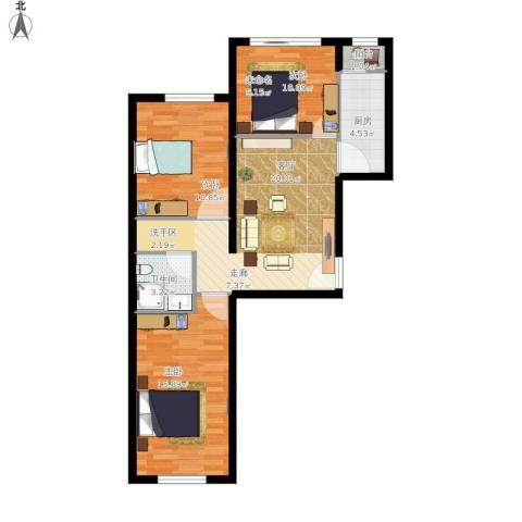 万科红狮家园2室1厅1卫1厨92.00㎡户型图