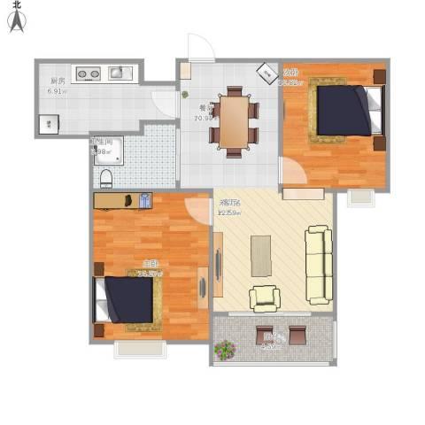 牧龙湖壹号2室1厅1卫1厨85.00㎡户型图