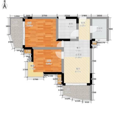 珠江华轩2室0厅1卫1厨61.57㎡户型图