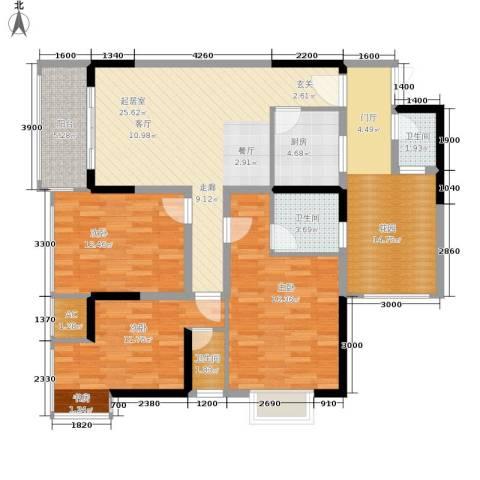 旭庆江湾国际花都3室0厅3卫1厨99.66㎡户型图