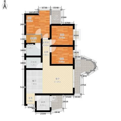 百康年拿铁城3室0厅2卫1厨88.00㎡户型图