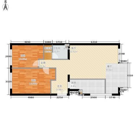 本家润园2室1厅1卫1厨117.00㎡户型图
