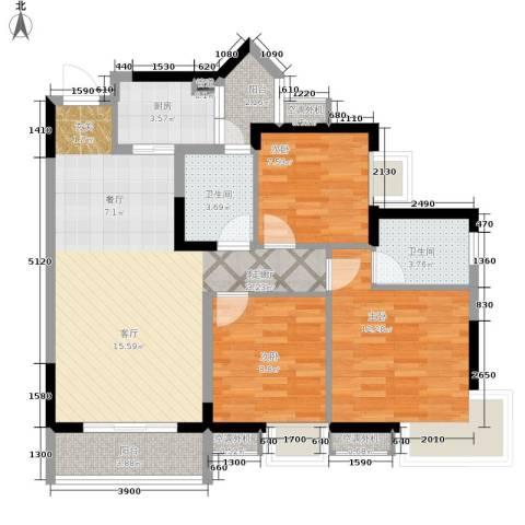 祺山・品阁3室1厅2卫1厨83.00㎡户型图