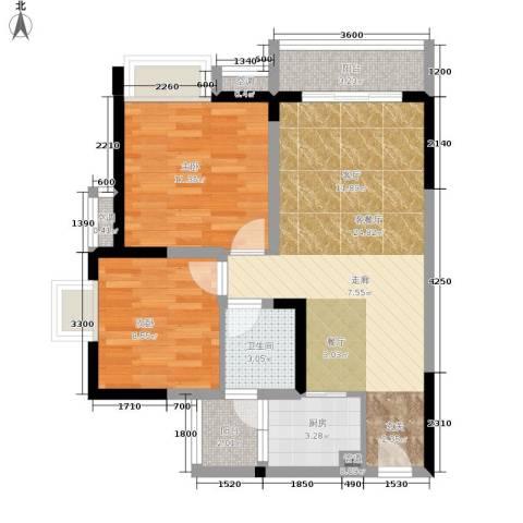 祺山・品阁2室1厅1卫1厨60.00㎡户型图