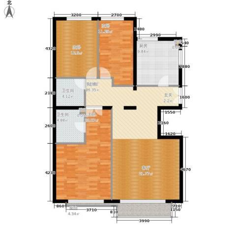 本家润园3室1厅2卫1厨152.00㎡户型图