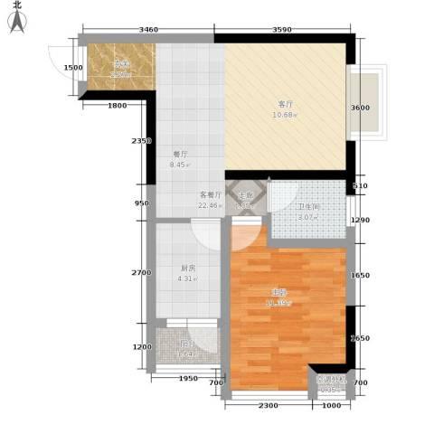 北城旺角1室1厅1卫1厨49.00㎡户型图