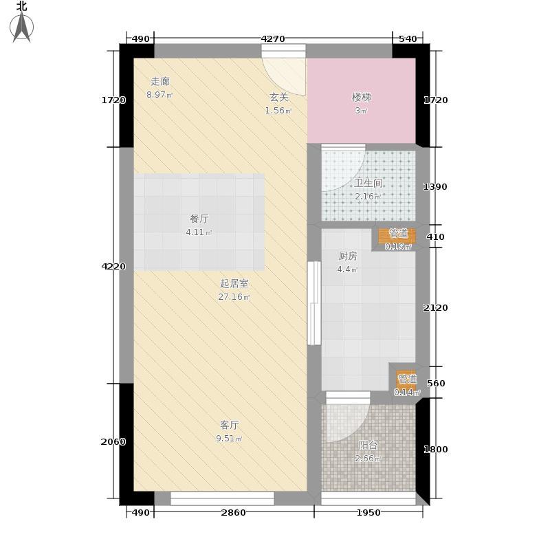 广州绿地中央广场55.00㎡花园阁楼首层户型