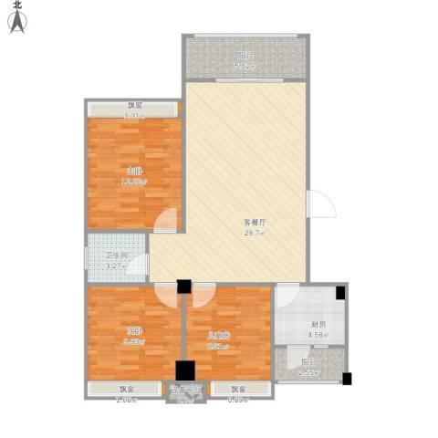 兴发金域丽江3室1厅1卫1厨110.00㎡户型图