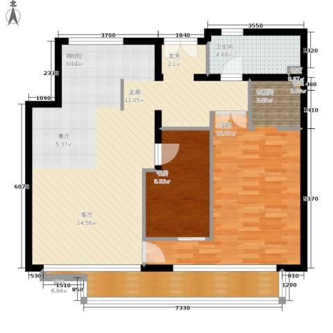 本家润园2室1厅1卫0厨105.00㎡户型图