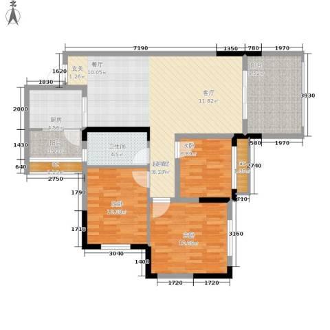 金科10年城3室0厅1卫1厨85.13㎡户型图