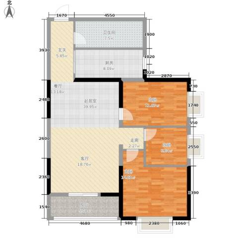 简约花园3室0厅1卫1厨106.00㎡户型图