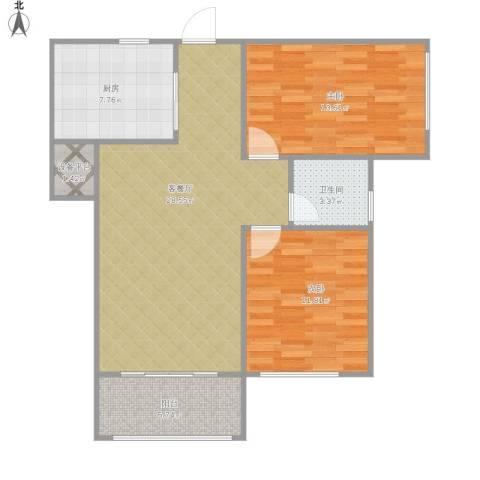 宣城市翰林苑2室1厅1卫1厨97.00㎡户型图