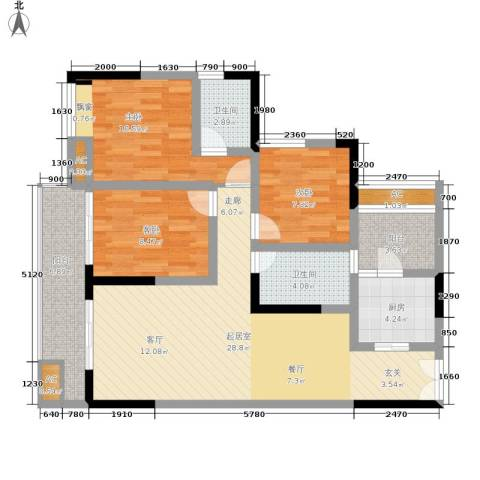 梁平戴斯国际酒店社区(B区)3室0厅2卫1厨94.00㎡户型图