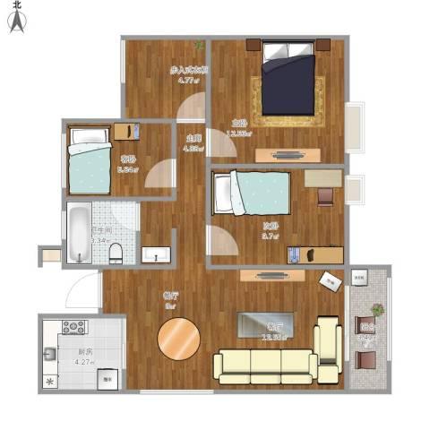 万科蓝山3室1厅1卫1厨94.00㎡户型图
