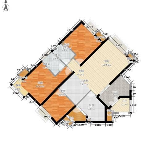 万科城市花园3室0厅2卫1厨104.00㎡户型图
