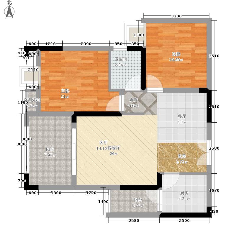 鸥鹏泊雅湾一期1号楼A1、A4-户型2室2厅