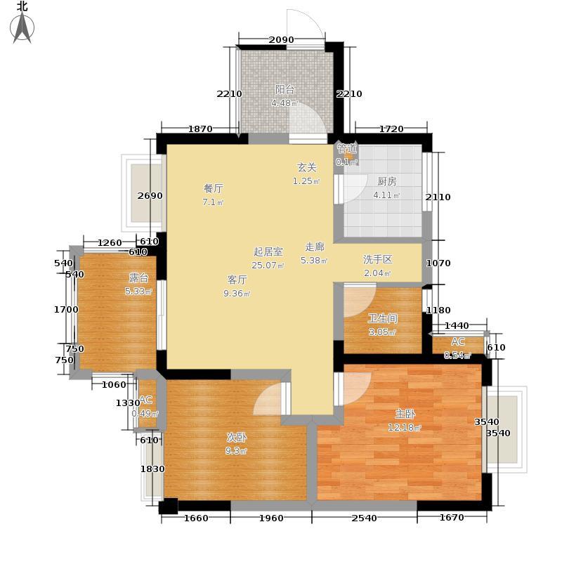 中大君悦金沙花园90.06㎡六期1号楼偶数层D4户型