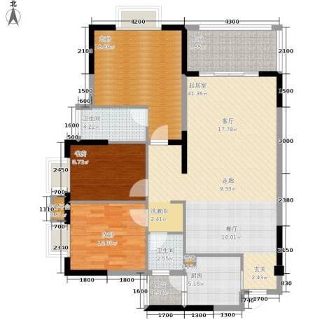 中旗哈佛中心3室0厅2卫1厨129.00㎡户型图