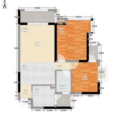 中旗哈佛中心2室0厅1卫1厨89.00㎡户型图