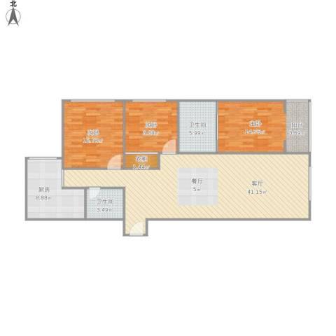 国华大厦3室1厅2卫1厨130.00㎡户型图