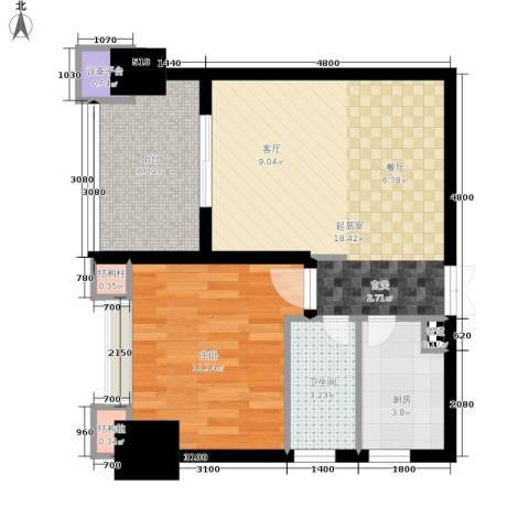 天福克拉广场1室0厅1卫1厨60.00㎡户型图