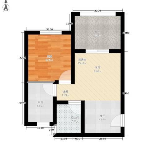 天岛湖1室0厅1卫1厨40.00㎡户型图