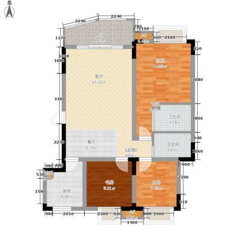 金银苑3室0厅2卫1厨86.00㎡户型图