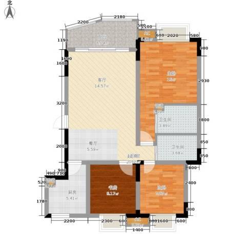 金银苑3室0厅2卫1厨84.00㎡户型图
