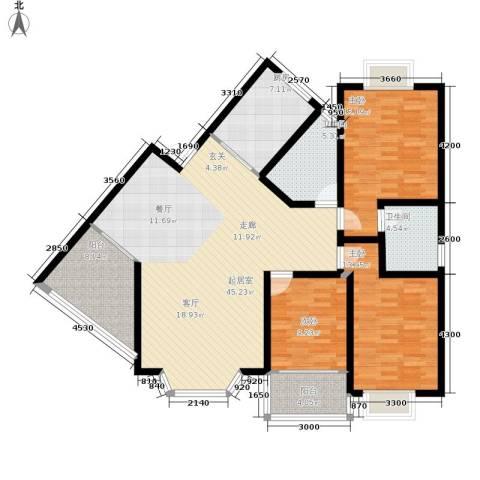 时代名城3室0厅2卫1厨160.00㎡户型图