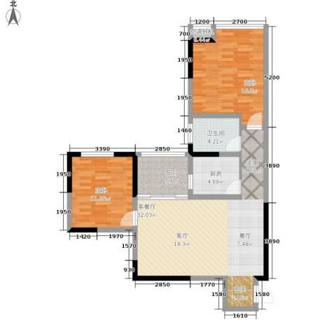北城旺角2室1厅1卫1厨106.00㎡户型图