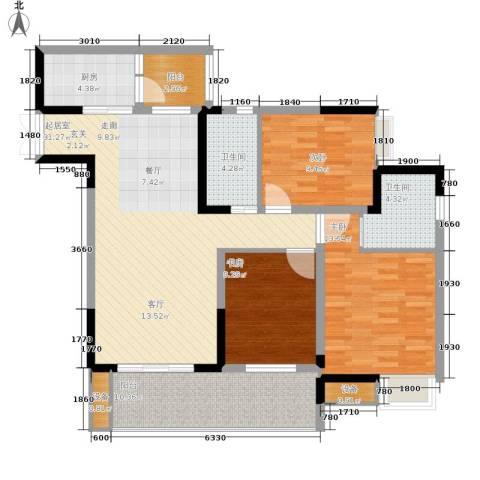 金科云湖天都3室0厅2卫1厨95.00㎡户型图