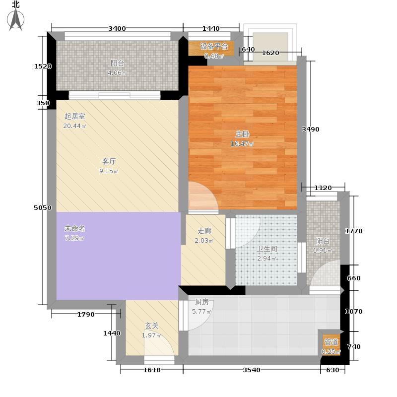 强发百年国际63.26㎡A2/3户型1室2厅