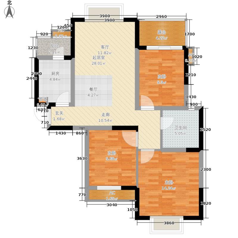 中大君悦金沙花园103.77㎡七期3号楼偶数层F6户型