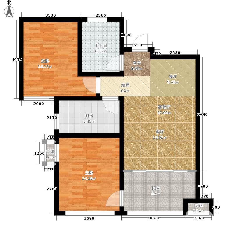 华裕唐城89.42㎡建筑面积约为F户型2室2厅