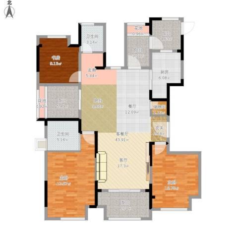保利梧桐语3室1厅2卫1厨173.00㎡户型图