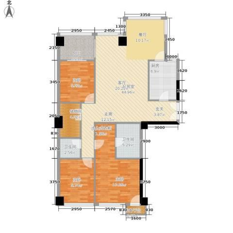西钓鱼台嘉园3室0厅2卫1厨160.00㎡户型图