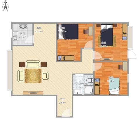 金秋花园3室1厅1卫1厨96.00㎡户型图