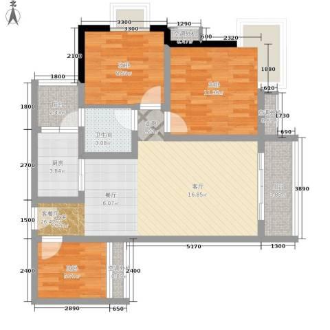 祺山・品阁3室1厅1卫1厨72.00㎡户型图